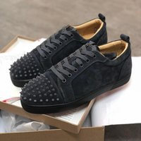 Wholesale green jungle for sale - Group buy Designer shoes Studded Spikes Sneakers junior Red Bottom Low top Flat trainers Jungle Green mens Suede leather Party shoes US