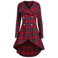 casaco xadrez em lã mais tamanho venda por atacado-Brasão Gamiss Primavera Mulheres Vintage Plus Size 5XL Red Plaid Abotoamento check Brasão Longo Fino Botão Casual Coats manta de lã
