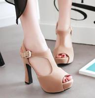 chunky saltos altos tamanho 43 venda por atacado-Plus size 32 33 42 43 bege grossas sandálias plataforma de calcanhar gladiador mulheres sexy de salto alto sandálias de grife vêm com caixa