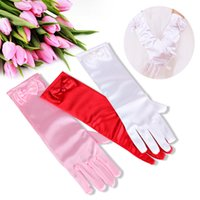 Ladies Satin Bowknot Pearl Gloves Wedding Bridal Party Costume Accessories