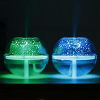 lámparas humidificadoras de nebulización al por mayor-USB Cristal Lámpara Nocturna Proyector 500 ml Humidificador de Aire de Escritorio Difusor de Aroma Ultrasónico Mist LED Luz de Noche para el hogar ZZA388