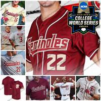 camiseta de béisbol 26 al por mayor-Custom CWS 2019 Florida State Seminoles Baseball Jersey Cualquier nombre número 26 Robby Martin 22 Drew Mendoza 15 Cj Van Eyk FSU S-4XL