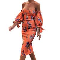laranja mulheres calças venda por atacado-Sukienka orange boho apertado dress mulheres sexy flores vestito garfo slash neck abertura strapless sleeve dress impressão # 15