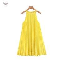 vestidos bonitos em linha reta venda por atacado-Mulheres Amarelo Chiffon plissadas Vestidos Mini Mudança Cap vestido de manga Halter mangas Feminino Em linha reta bonito elegante Vestidos Qb567