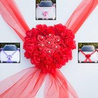 шелковой лентой комплекты оптовых-Комплекты украшений для свадебных автомобилей из искусственного шелка с цветочными лентами и бантами DIY свадебные принадлежности 2019 летие продажа