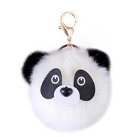 Wholesale metal chains for handbags resale online - Cute Panda Plush Ball Charm Key Chain Ring Animal Fur Pom Pom Ball Pendant Gold Color Metal Women Keychains For HandBag