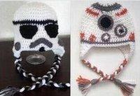boné do newsboy da criança venda por atacado-Bebê BB8 Crochet Hat Inverno Newsboy Beanie Crianças Crochet Hat Headwear Crianças Hallowmas Natal Caps infantil da criança Beanie Earflaps algodão