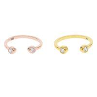 anillo doble simple al por mayor-Doble lado Anillos cz para mujeres Minimal joyería pequeña 925 plata de ley Color de oro simple anillo ajustable Midi Knuckle Ring