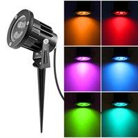 ingrosso luci spot spot-Illuminazione per esterni Lampade da giardino a LED 6W 8W 12W Lampade da prato a tenuta stagna 12V 220V 110V Paesaggio RGB Spike Spot Lights