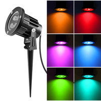 spot rgb ip65 al por mayor-Iluminación al aire libre LED Luces de jardín 6W 8W 12W Lámparas para césped 12V 220V 110V Paisaje RGB Spike Spot Lights