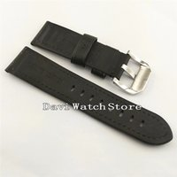 polimento de couro preto venda por atacado-24mm couro preto simples macio relógio banda polimento fivelas p782