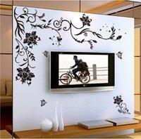 ingrosso pareti di disegno della vite-Black Flower Vine farfalla vinile adesivi murali decorazioni per la casa camere soggiorno divano carta da parati Design decalcomanie di arte della parete decorazione della casa