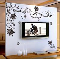 paredes de diseño de la vid al por mayor-Flor negra vine mariposa vinilo pegatinas de pared decoración para el hogar habitaciones living sofá papel tapiz Diseño arte de la pared calcomanías decoración de la casa