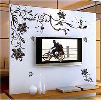 papel de parede de borboleta para desenhos de paredes venda por atacado-Flor preta borboleta videira adesivos de parede de vinil decoração da sua casa sala de estar sofá papel de parede Projeto decalques da arte da parede decoração da casa
