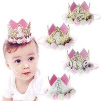 şapka saç süslemeleri toptan satış-1 Adet Kız Bebek İlk Doğum Günü Partisi Şapka Hediyeleri Hairband Prenses Kraliçe Taç Dantel Saç Bandı Elastik Başkanı Wear Şapka Süsleri