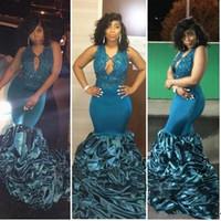 ingrosso signore formali da sera lunghe-2019 Halter Slim Sud Africa Mermaid Lace Prom Dresses Custom Top Beads Sleeveless Ladies Evening Long Dubai Party Abiti celebrità celebrità