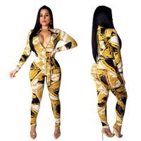 cadena de cuello sexy al por mayor-Envío Gratis 2019 Mujeres Sexy Zipper Neck Gold Chain Imprimir Tight Jumpsuit Cintura Alta Bodycon Long Playsuit Club Wear