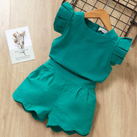 Wholesale cute polyester dresses sleeves for sale - Group buy 2019 new Kids Girls Clothing Sets Summer New Style Brand Baby Girls Clothes short Sleeve T Shirt Pant Dress Children Clothes Suits
