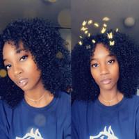 brazilian bakire afro kıvırcık peruk toptan satış-Ucuz Tam Dantel İnsan Saç Peruk 130% Yoğunluk Siyah Kadınlar Için Brezilyalı Virgin İnsan Peruk Afro Kinky Kıvırcık Kısa Peruk Ön Koparıp Ruiyu