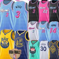 bordados caril camisa de basquete venda por atacado-2020 Nova Stephen 30 Curry Jersey NCAA Dwyane Wade 3 Jimmy 22 Butler Tyler 14 Herro Jersey bordado Logos Basketball