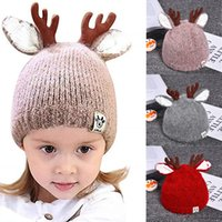 Wholesale crochet reindeer hats resale online - 2019 NEW Cute Reindeer Antlers Baby Beanie Soft Warm Crochet Knitted Hat for Toddler Girls Boys Colors