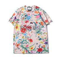 emt t-shirt achat en gros de-Été des femmes des hommes T-shirt New Mode T-shirts avec des lettres respirante manches courtes pour hommes Hauts avec des fleurs en gros T-shirts