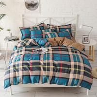 yorgan örtüsü mavi set toptan satış-3/4 Adet Kafes Mavi Leopar Baskı Yatak Setleri Yastık Kılıfı Çarşaf Nevresim Yetişkin Çocuklar Için Ev Tekstili