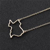 Wholesale texas necklace resale online - 30 USA hollow Texas map pendant Necklace America States Map Necklace Charm USA TX State Necklace Simple Hollow Geography Necklaces jewelry