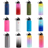 Wholesale stainless thermal water bottles resale online - 26 colors oz oz Stainless Steel Outdoor Sports Water Bottle Flask Vacuum Insulated Cups with Cap Wide Mouth Travel Mug Custom Logo