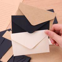Wholesale kraft paper mini envelopes resale online - 20PCS Kraft Blank Mini Paper Envelope Kraft White Black Paper Envelope Message Card Letter Stationary Storage Gift