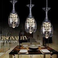 óculos de luz pendente venda por atacado-Modern Cristal Vinho Bar Copos Lustre Luz de Teto Lâmpada Pingente LED de Iluminação Lâmpada Pendurada LEVOU Sala de Jantar Sala de estar Luminária