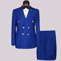 синий костюм оптовых-Hot Sales Wholesale Slim Fit Mens Golden Metal Buttons Suits Men Double Breasted Azul Hombre Blue Black Suit Masculine Blazer
