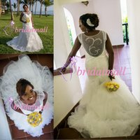 Wholesale wedding robes online - Plus Size Beading Sequined African Mermaid Wedding Dresses Cascading Ruffles Tulle Wedding Bridal Gowns Custom Made Robes de mariée