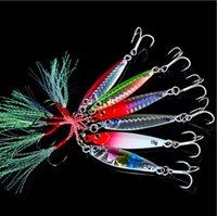atraer los ojos al por mayor-De calidad superior 6 Unids / set 3D Eye Fishing Lure Señuelos Plomo Pluma Aparejos de pesca 6 colores 60mm / 15G- # 6 Gancho