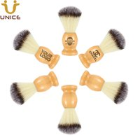 cepillo de cerdas de nylon al por mayor-50 PC OEM de logotipo Barba Brocha de afeitar del peluquero maquinilla de afeitar la barba cepillo de mango de madera de cerdas de nylon para hombre facial de limpieza Cepillos