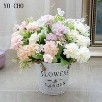 bolas falsas al por mayor-YO CHO 5 Ramas artificiales de seda Spring Branch suerte de bolas de flores de seda decorativas flores de la boda de bricolaje Home Decoración Fake Flowers