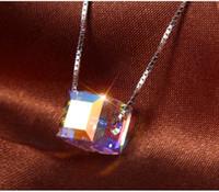 colar geométrica de prata venda por atacado-Quente! Mulheres Colar Designer de Luxo Bling Bling Cristal Colar de Moda de Prata Geométrica Pingente de Colar de Jóias para o Presente
