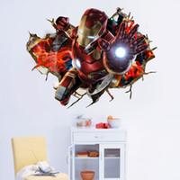 fondos de pantalla tridimensionales al por mayor-1pc 50 * 70 cm nuevo Marvel's The Avengers 3d wallpaper para niños 3d tridimensional hombre de hierro equipo de belleza gigante verde decoración del hogar pegatinas de pared