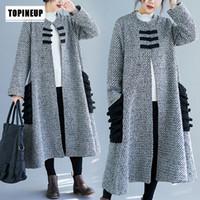 casaco chinês mulher venda por atacado-2019 mulheres inverno frouxo longo outerwear U colar estilo chinês Brasão do vintage estilo chinês casaco de lã