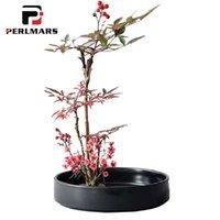ingrosso vaso di bonsai in ceramica-Breve Vaso di fiori in tinta unita Vaso in ceramica Vasi in ceramica / Decorazioni per la casa Disposizione dei fiori Bonsai Hydroponics Plant Plate Round Dish