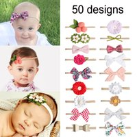 bebek saç aksesuarları tüy toptan satış-50 Tasarımlar Avrupa ve Amerikan bebek şeker renkler Yay Tasarımcı kafa Güzel bebek kız zarif saç yaylar aksesuarları