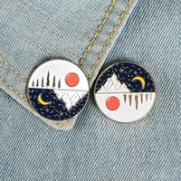 Wholesale mothers day pins resale online - Day and Night Enamel Pin Sun Moon Stars Mountain Brooches Bag Clothes Lapel Pin Gold Silver Badge Jewelry Gift for Lover Friend