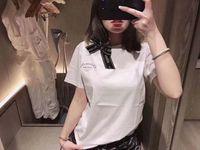 arcos para mulheres de verão para mulheres venda por atacado-2019 novo Verão Das Mulheres Designer de Marca T Shirt Das Senhoras de Algodão de Manga Curta tripulação pescoço T-shirt Femal Clássico arco decoração Tshirts roupas