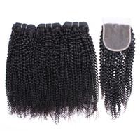 fermetures afro kinky achat en gros de-Kisshair Afro Kinky Curly cheveux humains 3 Bundles avec dentelle fermeture des couleurs naturelles du Brésil du Pérou Indien Vierge Remy Human Hair Bundles
