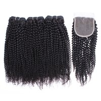 Wholesale afro kinky curly lace closure for sale - Group buy Kisshair Afro Kinky Curly Human Hair Bundles with Lace Closure Natural Color Brazilian Peruvian Indian Virgin Remy Human Hair Bundles