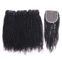 kinky indian insan saçı toptan satış-Kisshair Afro Kinky Kıvırcık İnsan Saç Dantel Kapatma ile 3 Demetleri doğal Renk Brezilyalı Perulu Hint Bakire Remy İnsan Saç demetleri