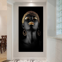 Wholesale oil picture woman for sale - Group buy 1 Canvas Painting Wall Art Pictures Prints Black Woman On Canvas No Frame Home Decor Wall Poster Decoration For Living Room