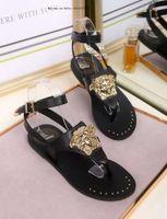 eva sexy sandálias planas venda por atacado-Marca 2019 sandálias de sola plana para senhoras mulheres partido moda rebites meninas sexy apontou sapatos de casamento de dança dupla alças