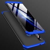 xiaomi kunststoff-gehäuse großhandel-360 vollschutz telefon case für xiaomi mi 8 lite pocophon f1 max 3 redmi note 6 pro a2 lite 6a 3 in 1 matte hartplastik abdeckung