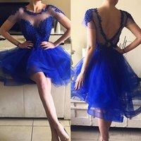 kokteyl elbisesi güzel model toptan satış-Güzel Kraliyet Mavi Kısa Gelinlik Modelleri Sheer Kısa Kollu Aç Geri Kokteyl Parti Törenlerinde Vestidos de fiesta Mezuniyet Elbiseleri